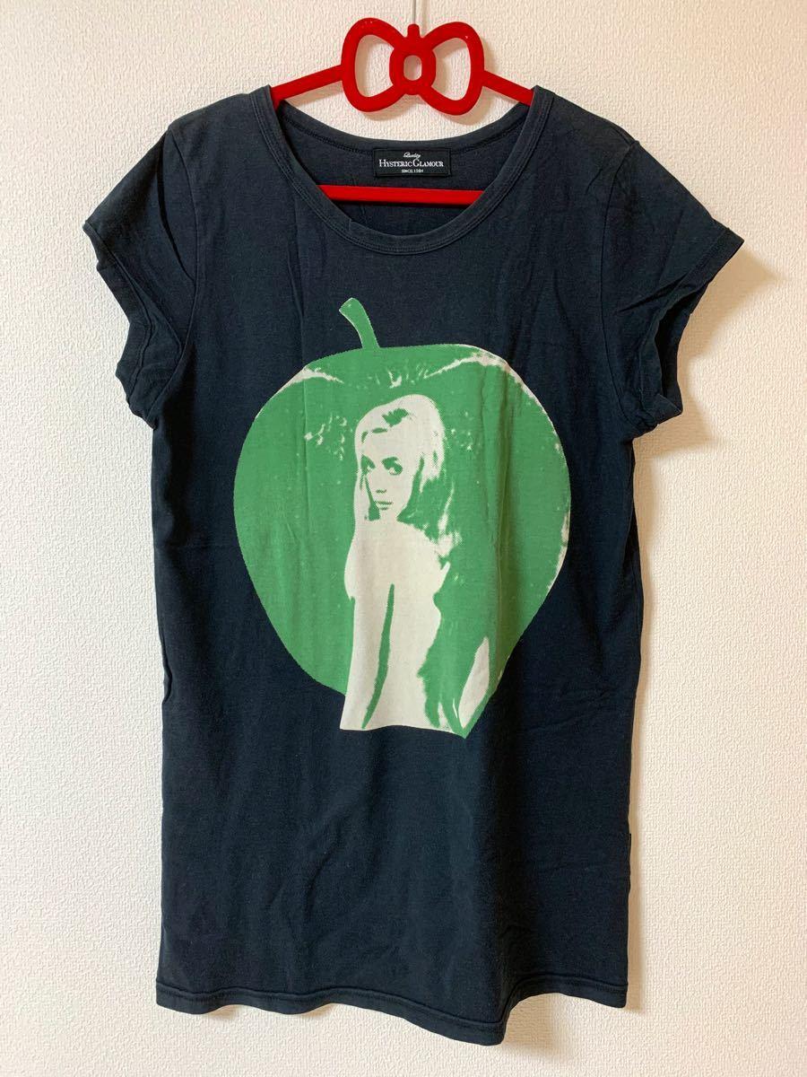 ヒステリックグラマー  半袖Tシャツ りんご アップル 黒