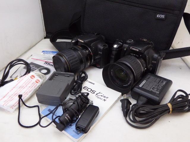 134☆キャノン Canon EOS Kiss Digital EF-S 18-55mm/EOS Kiss Digital N 35-135mm ジャンク扱 カメラ レンズ 1円~_画像1