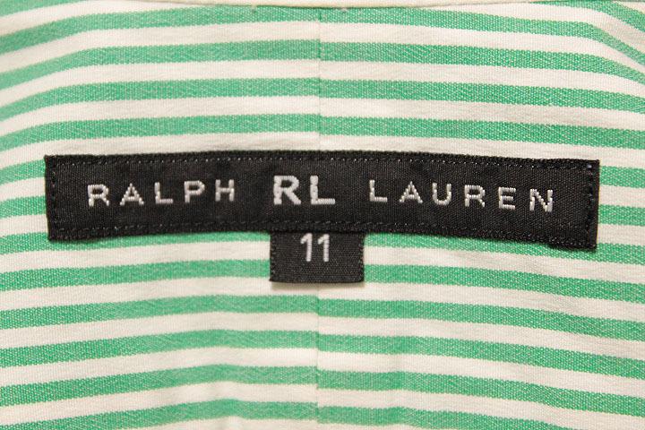 POLO Ralph Lauren ポロ ラルフローレン 長袖 グリーン×ホワイト ストライプ シャツ 長袖 レディース 女性