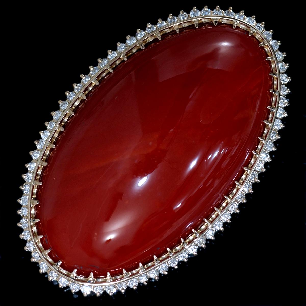 F1799 逸品巨大血赤珊瑚42.1×24.3mm 天然絶品ダイヤ0.71ct 最高級18金無垢セレブリティビックトップ重量21.4g 幅47.6×30.0mm_画像1