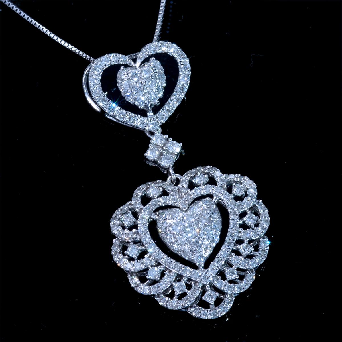 *PN6267 新品!貴族趣味!淑女なあなたに最適!令和新作Design!【HEART】天然上質ダイヤモンド1.30ct 最高級18金WG無垢ネックレス