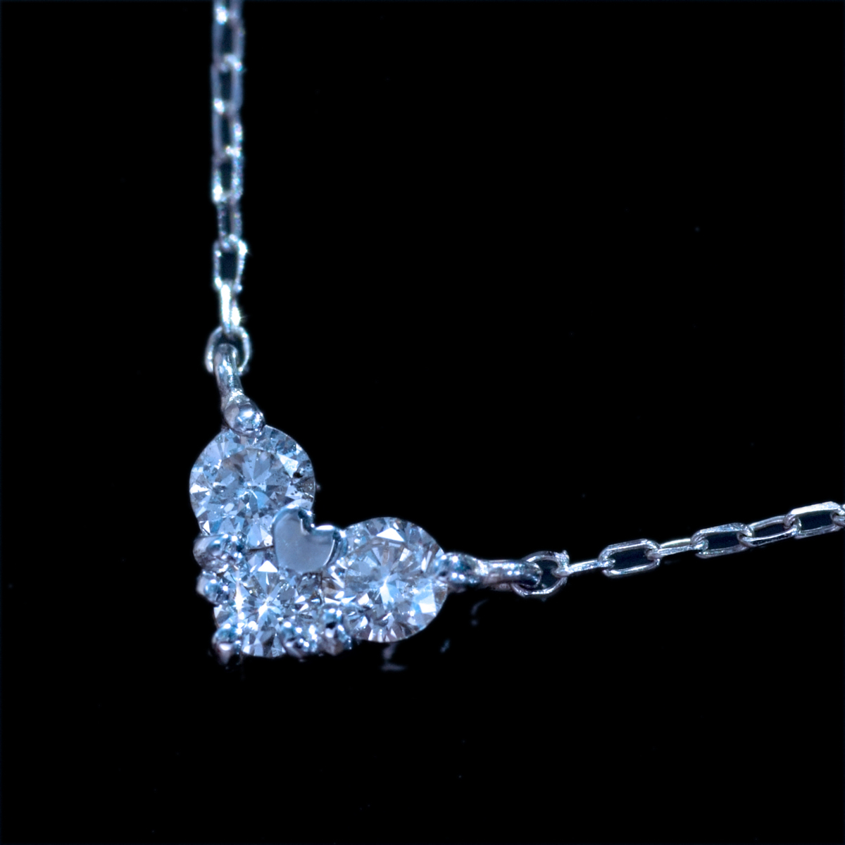 *PN6359 新品業者向!【Heart Necklace】ハートネックレス 令和新作Design 天然上質ダイヤモンド0.10ct 最高級18金WGネックレス