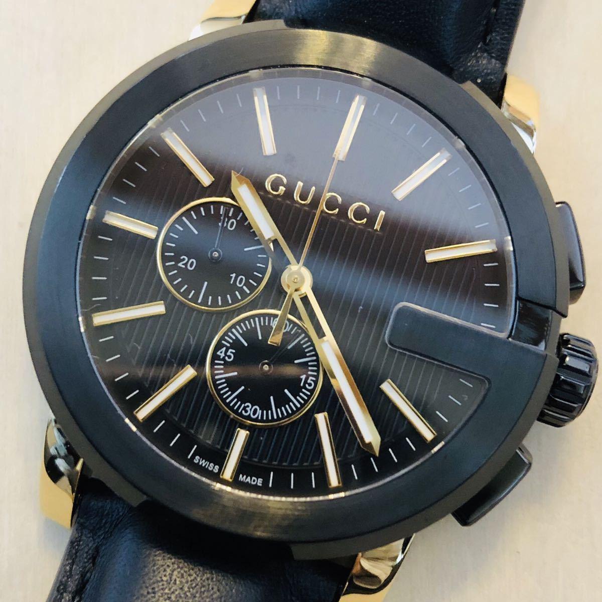 ☆1円スタート☆激レア☆◆海外限定◆新品◆高級腕時計◆GUCCI Gクロノ◆YA101203◆定価約24万◆クォーツ ブラック/イエロー メンズ腕時計