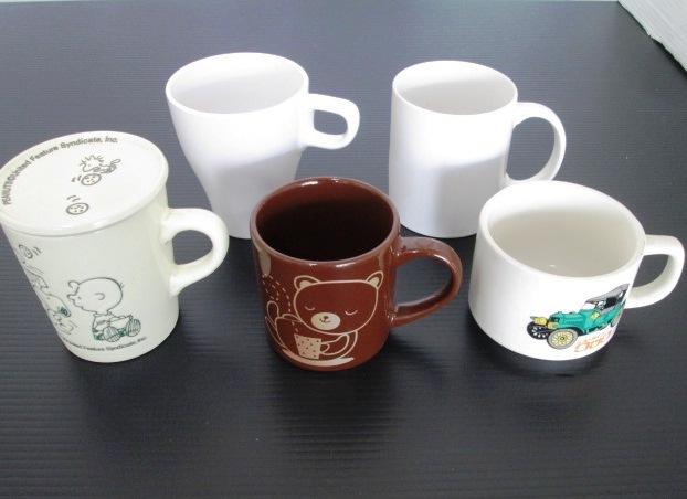★ マグカップ 5個セット ★ スヌーピー 蓋付マグカップ / 茶色 クマの絵 / 車の絵 ニュータイプクック / 白色 2個
