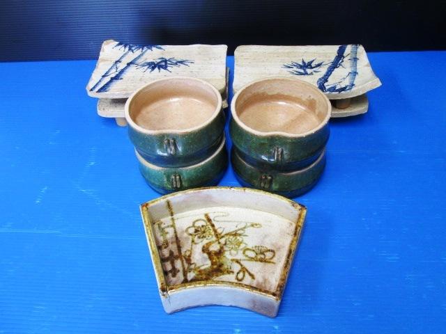 【まとめ売り】 ★ 清水焼 陶あん? ★ 竹の足付き角皿 4枚 / 輪切り竹形の器 4個 / 扇形の器 1個 陶器 焼き物