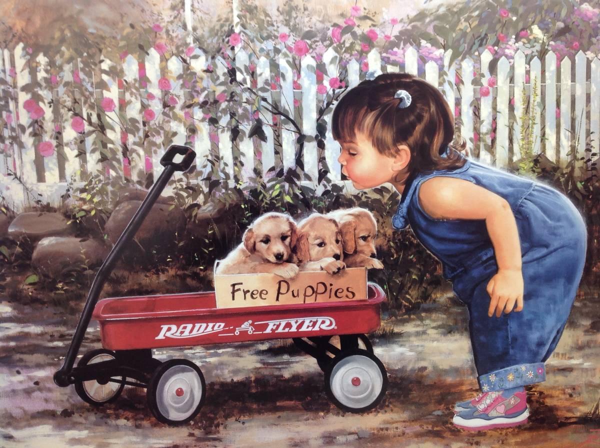 ポスター 横 額装仕上げ品 犬 子供