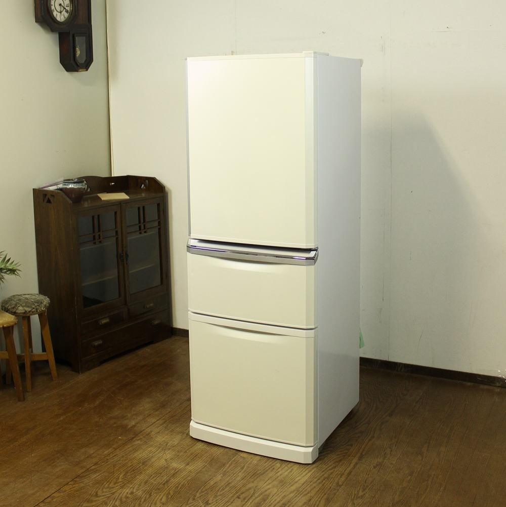 三菱 3ドア ノンフロン冷凍冷蔵庫 MR-C34W 白 340L ホワイト中古 自動製氷 大型 大きめ 家庭用 右開き_画像1