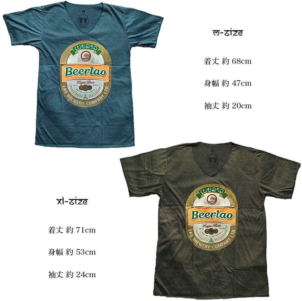 ★エンジ Mサイズ★男女兼用 ビアラオ ラオス ビール ゴールド ラメ プリント エスニック 半袖 Tシャツ po218