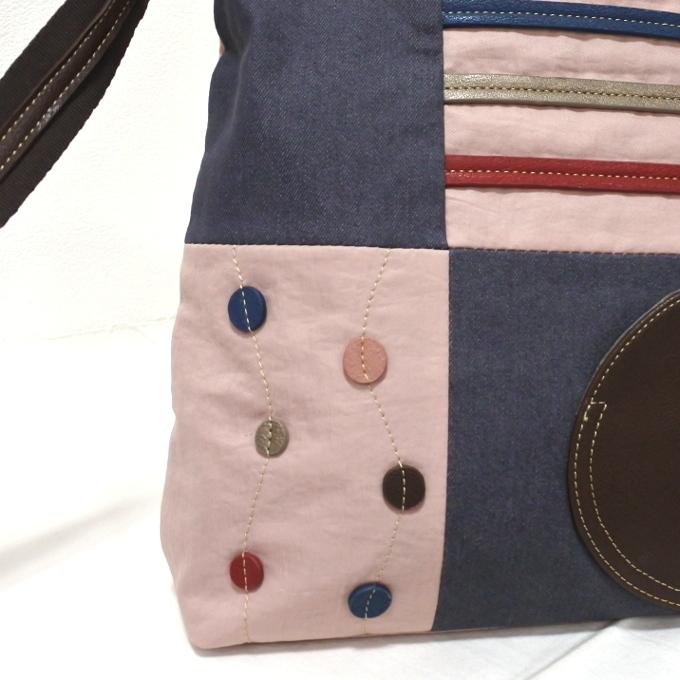デニム レディース ショルダーバッグ ピンク 斜め掛け 軽い たくさん入る おしゃれ カバン かばん 鞄 ミセス 女性 シニア 母の日 ギフト_画像3