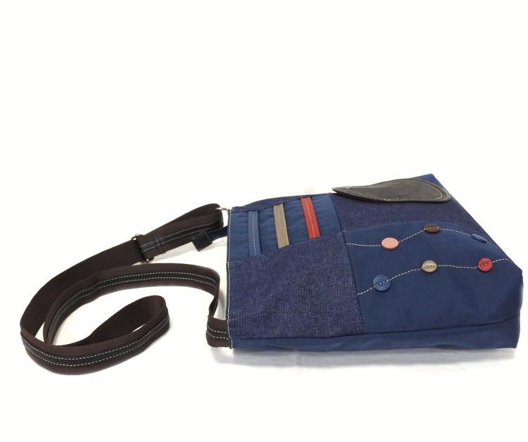 デニム レディース ショルダーバッグ ネイビー 斜め掛け 軽い たくさん入る おしゃれ カバン かばん 鞄 ミセス 女性 シニア 母の日 ギフト_画像8