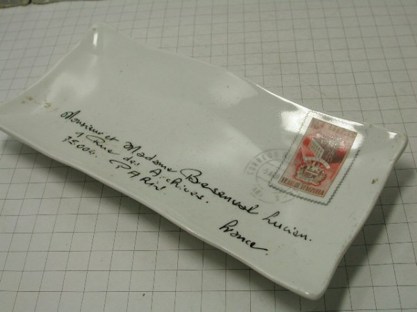 超希少!!コレクション大放出●古いフランスのレター型セラミックトレー!!■パリの手紙■ビンテージ■■1950年代60年代70年代_画像4