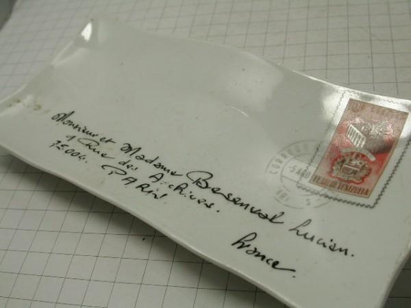 超希少!!コレクション大放出●古いフランスのレター型セラミックトレー!!■パリの手紙■ビンテージ■■1950年代60年代70年代_画像2