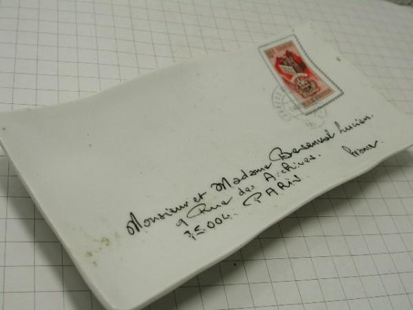 超希少!!コレクション大放出●古いフランスのレター型セラミックトレー!!■パリの手紙■ビンテージ■■1950年代60年代70年代_画像1