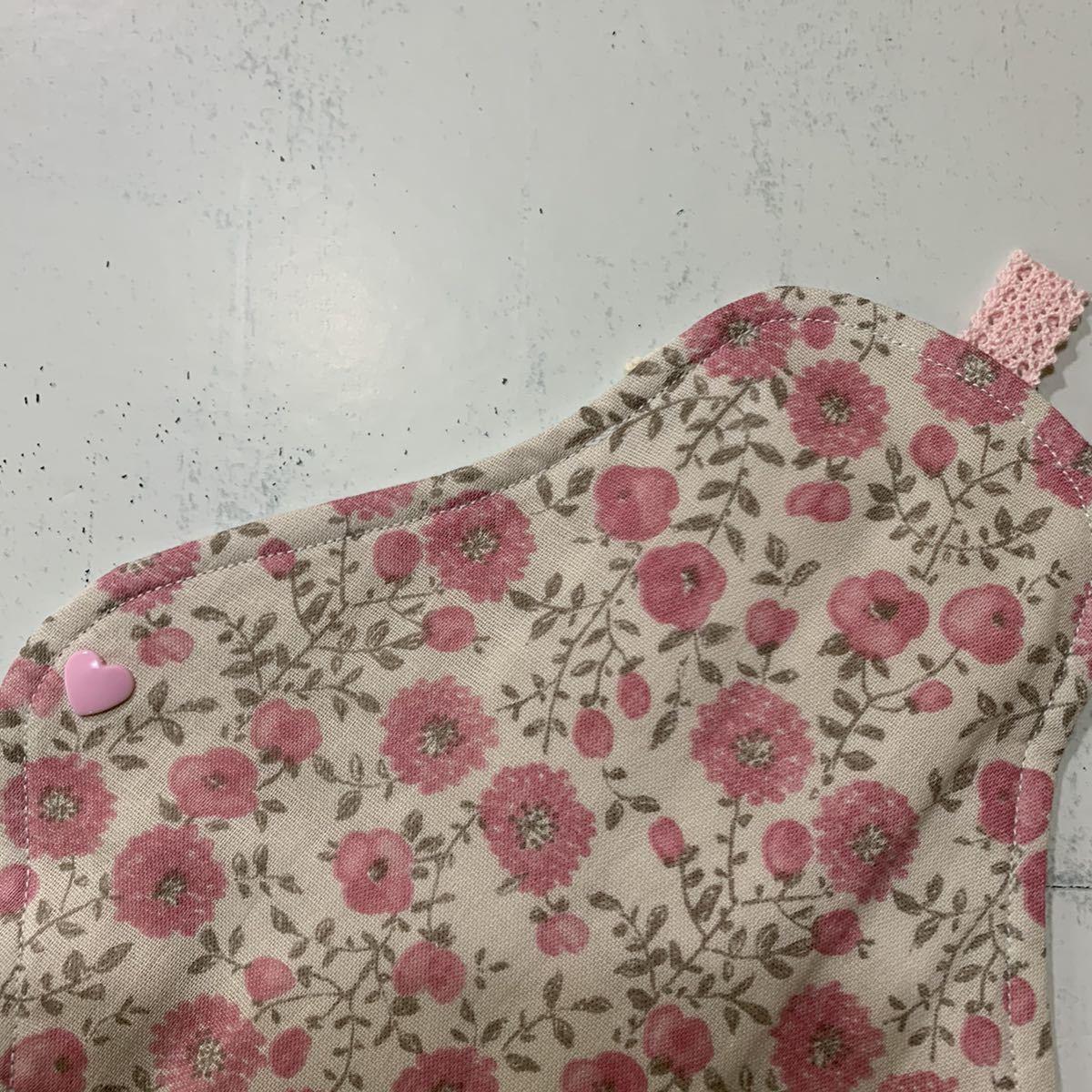 【防水なし】Lサイズ◎ハンドメイド◎布ナプキン◎ホルダー 26.5cm 花柄ピンク(プラスナップ/無漂白ネル・Wガーゼ)_画像3