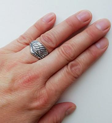 フリーサイズ  フェザーリング  羽   指輪  12号~23号 シルバー925、_13号