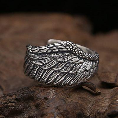 フリーサイズ  フェザーリング  羽   指輪  12号~23号 シルバー925、_画像4
