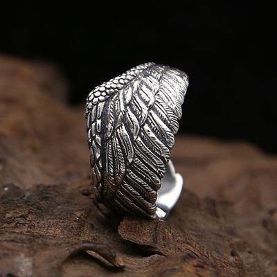 フリーサイズ  フェザーリング  羽   指輪  12号~23号 シルバー925、_23号