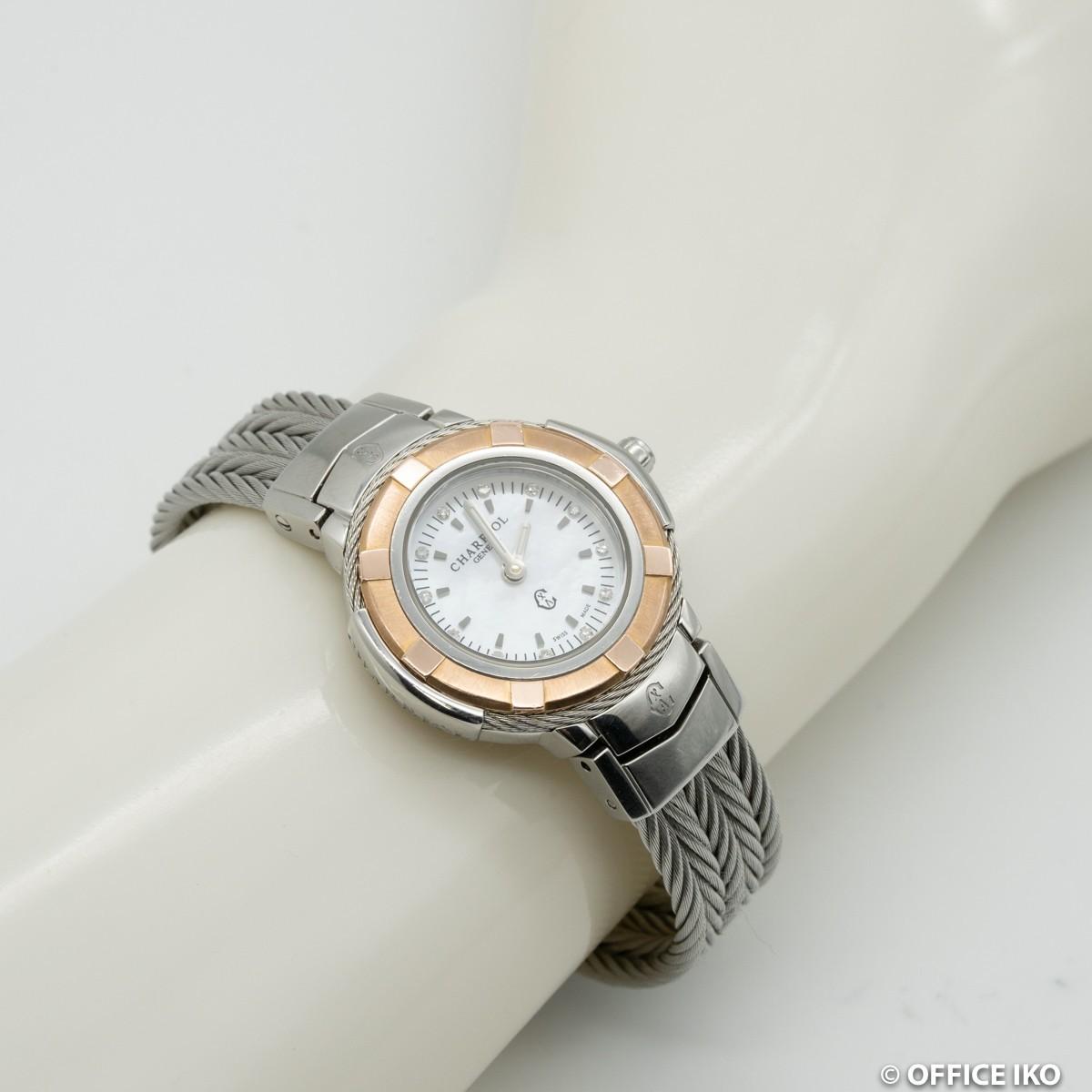 質イコー [シャリオール] CHARRIOL 腕時計 ケルテック シェル CE426 ダイヤ12P クオーツ レディース 中古 良品_画像7