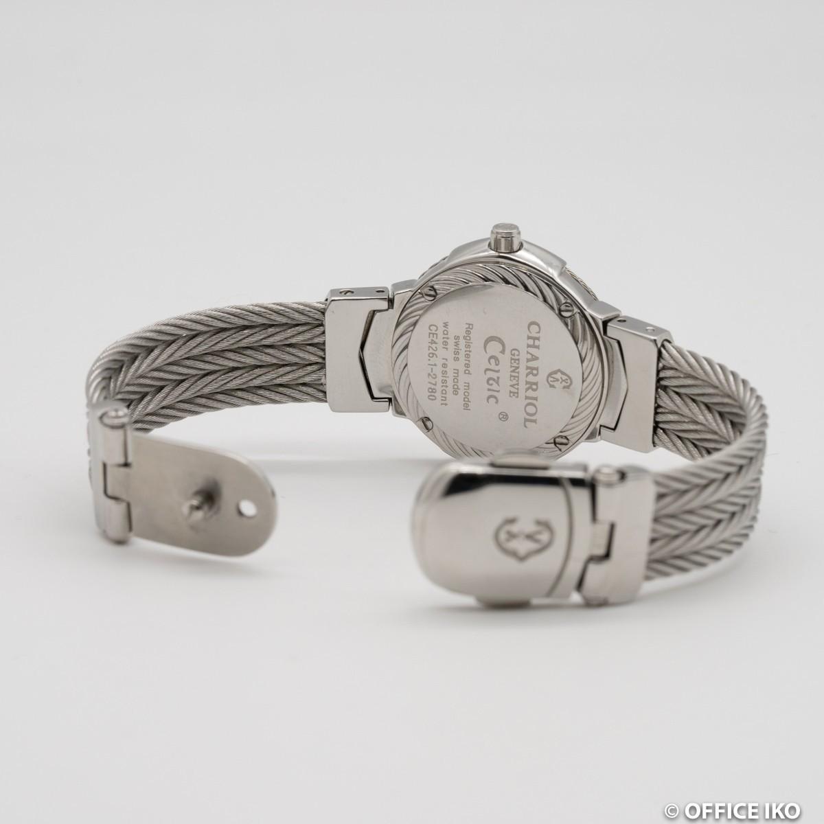 質イコー [シャリオール] CHARRIOL 腕時計 ケルテック シェル CE426 ダイヤ12P クオーツ レディース 中古 良品_画像6
