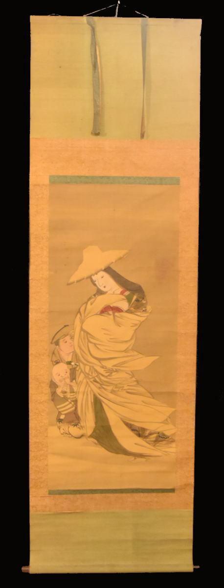 美人古図 手巻き画絵巻 画軸 絹本 旧藏 希少 肉筆 立軸 年代保証 書法 掛け軸 古美術 茶掛 掛軸 古玩 文化財収集 入札 WWKK010_画像2