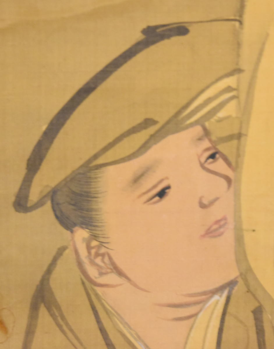 美人古図 手巻き画絵巻 画軸 絹本 旧藏 希少 肉筆 立軸 年代保証 書法 掛け軸 古美術 茶掛 掛軸 古玩 文化財収集 入札 WWKK010_画像7