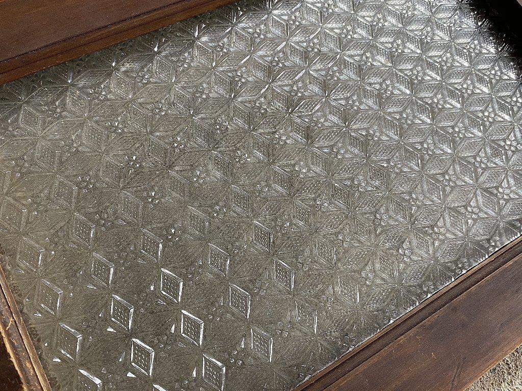 戦前のプレスガラス型ガラス菱形雪結晶ガラス4枚組▼アンティークガラス時代ガラス_画像3