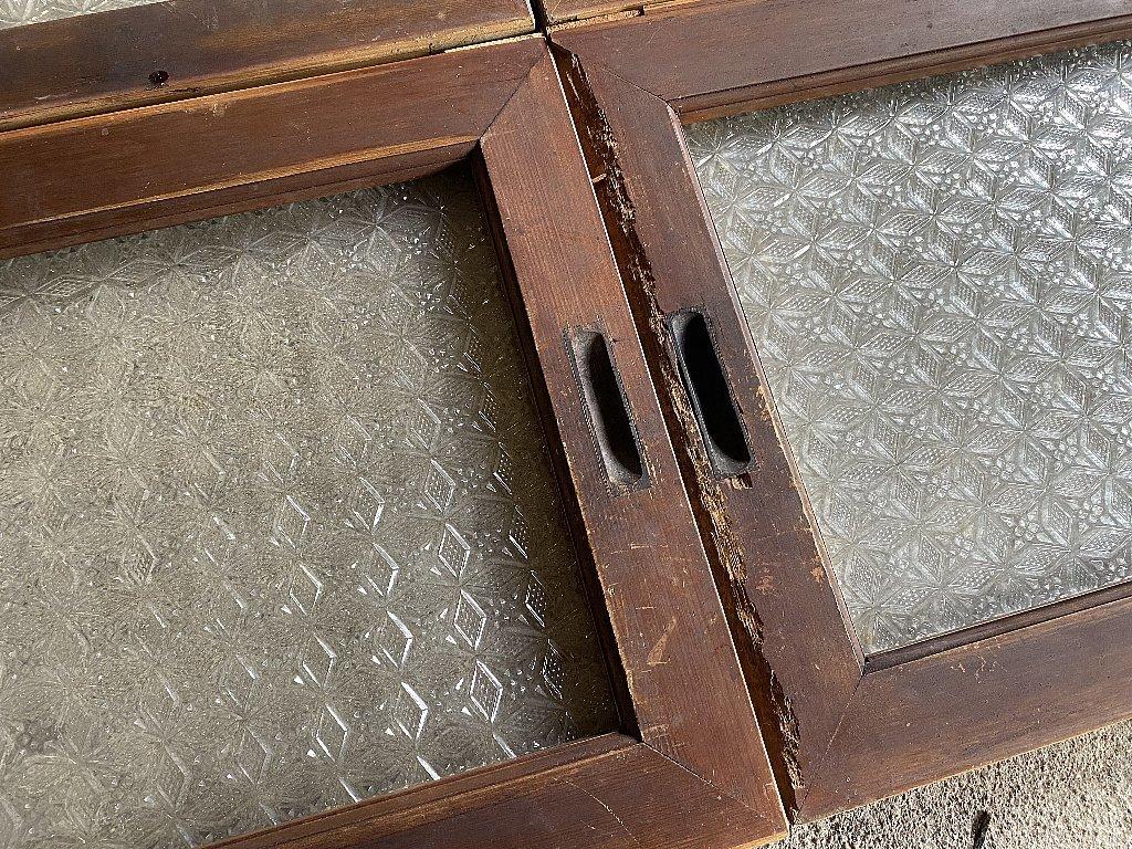 戦前のプレスガラス型ガラス菱形雪結晶ガラス4枚組▼アンティークガラス時代ガラス_画像6