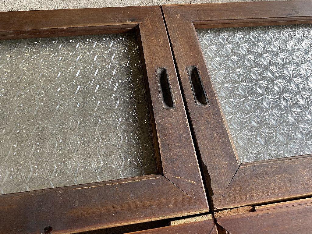 戦前のプレスガラス型ガラス菱形雪結晶ガラス4枚組▼アンティークガラス時代ガラス_画像5