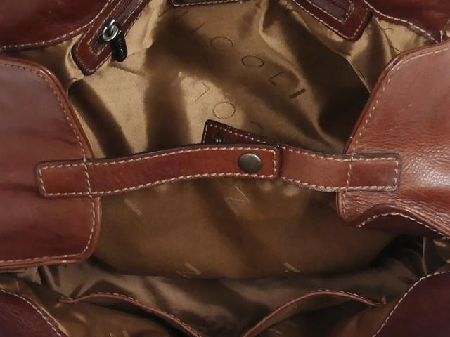 即決★NICOLI★レザーハンドバッグ ニコリ メンズ 茶 ブラウン 本革 トートバッグ 本皮 かばん 鞄 レディース 手提げバッグ_画像7