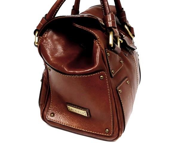 即決★NICOLI★レザーハンドバッグ ニコリ メンズ 茶 ブラウン 本革 トートバッグ 本皮 かばん 鞄 レディース 手提げバッグ_画像3