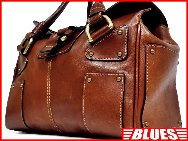 即決★NICOLI★レザーハンドバッグ ニコリ メンズ 茶 ブラウン 本革 トートバッグ 本皮 かばん 鞄 レディース 手提げバッグ_画像1