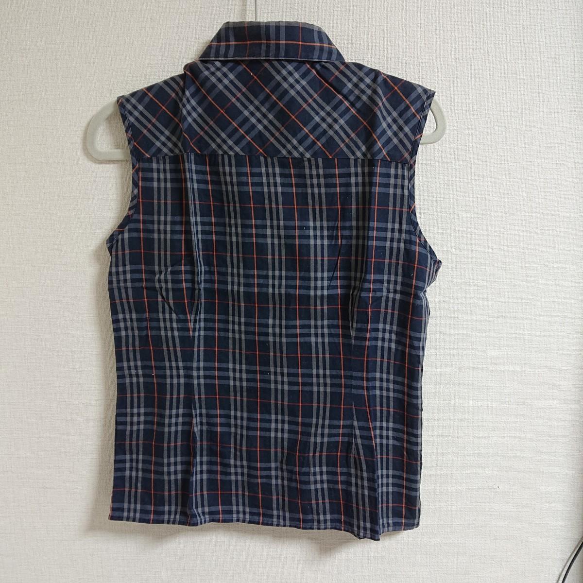 ブラウス ノースリーブシャツ ネイビー 紺