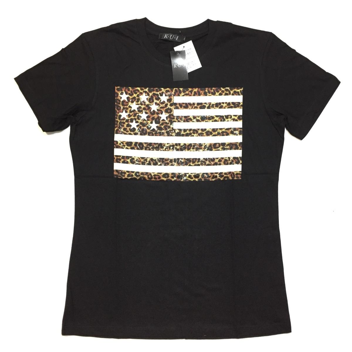 【卸売り】2枚セット メーカー希望小売価格¥3,190 新品 レオパード ヒョウ柄 星条旗 Tシャツ Lサイズ アメカジ ビター系_画像6