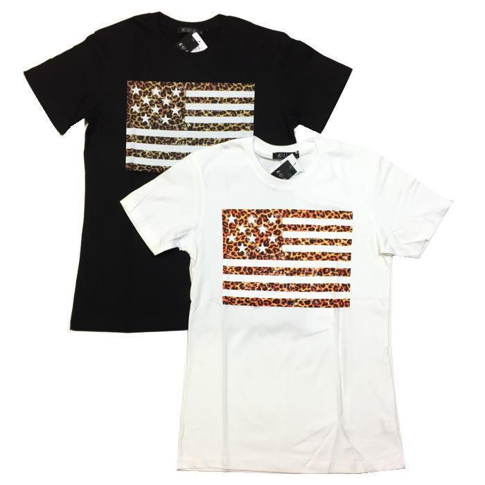【卸売り】2枚セット メーカー希望小売価格¥3,190 新品 レオパード ヒョウ柄 星条旗 Tシャツ Lサイズ アメカジ ビター系_画像1