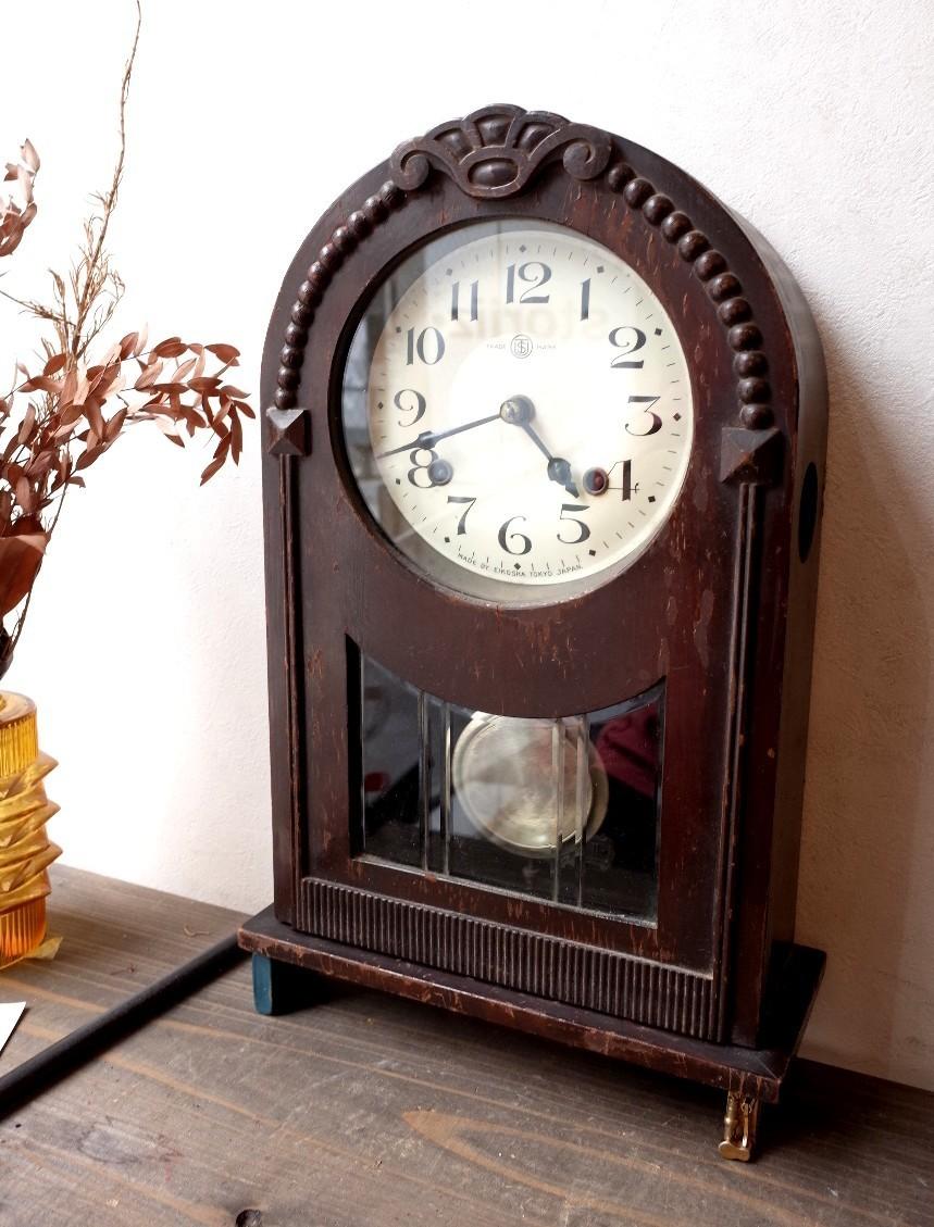 ○EIKOSHA 栄光舎 手巻き振り子時計アンティーク デザイン可愛い 古道具のgplus広島 2006k_画像1