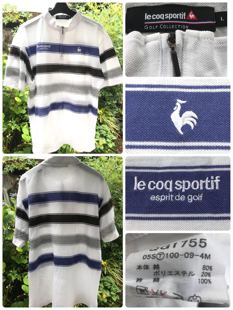 ルコック le coq sportif ルコックスポルティフ ゴルフウェアー Lサイズ 劣化品 メンズ シャツ_画像2