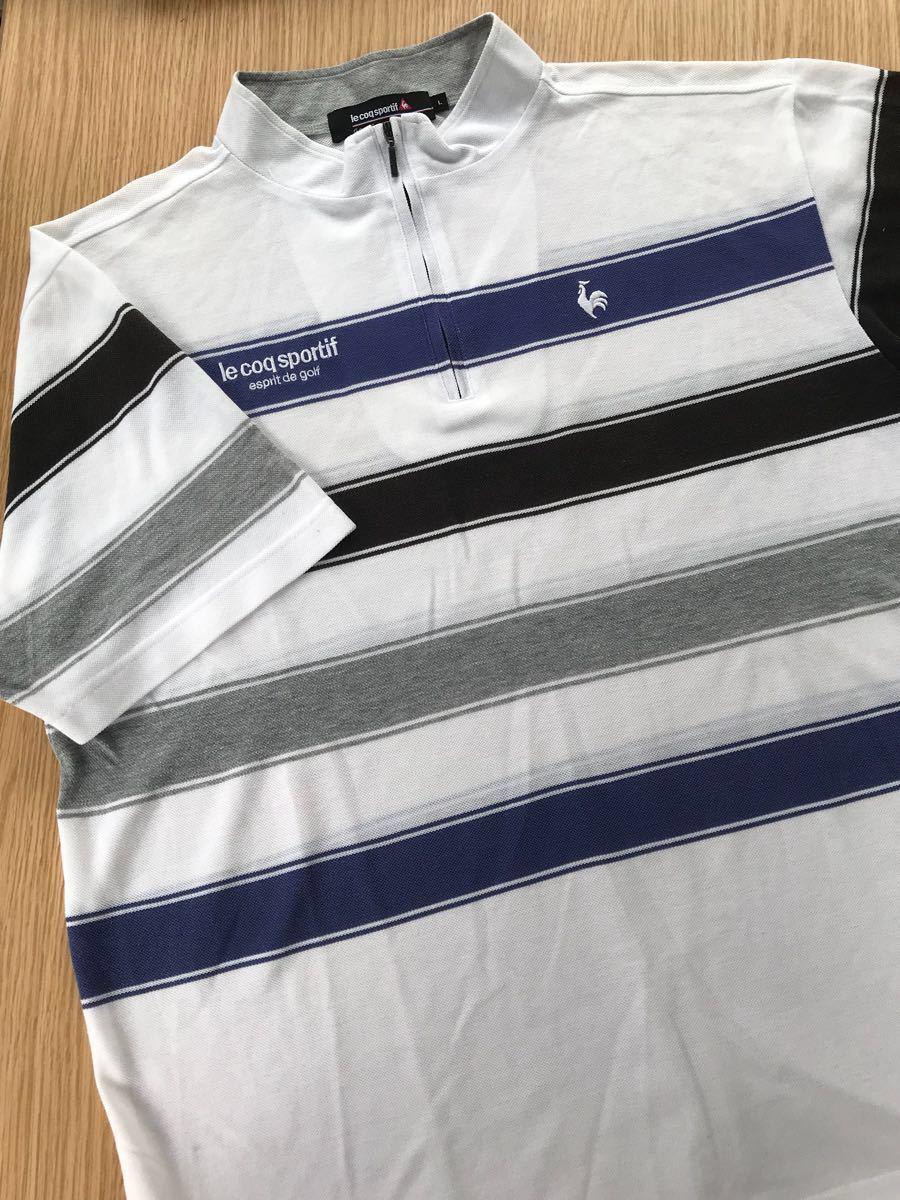 ルコック le coq sportif ルコックスポルティフ ゴルフウェアー Lサイズ 劣化品 メンズ シャツ_画像1