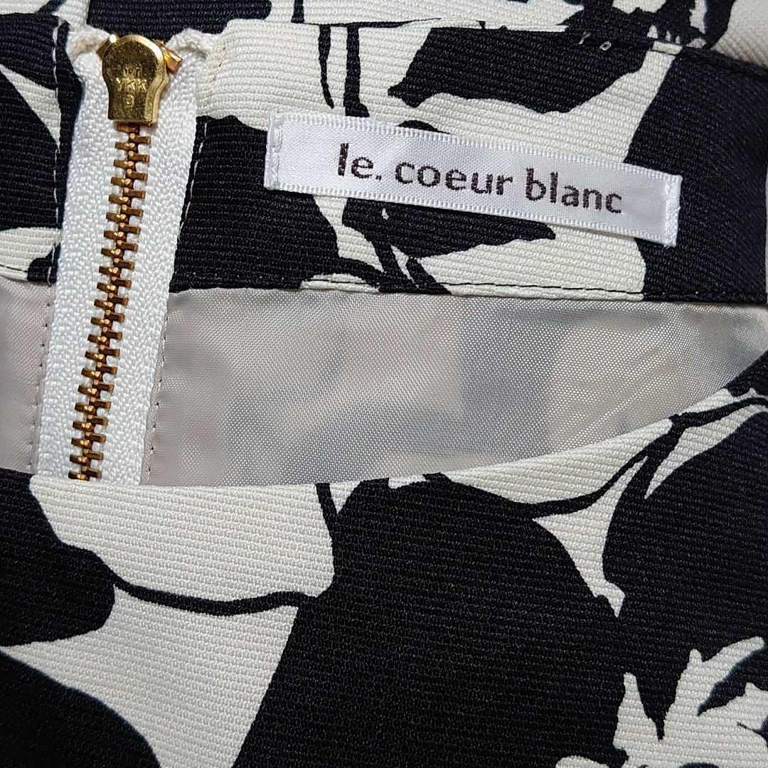 美品 ルクールブラン シックな花柄が素敵な七歩袖 膝丈 ワンピース 白黒 サイズ38 Mサイズ 9号 le. coeur blanc 春物 秋物