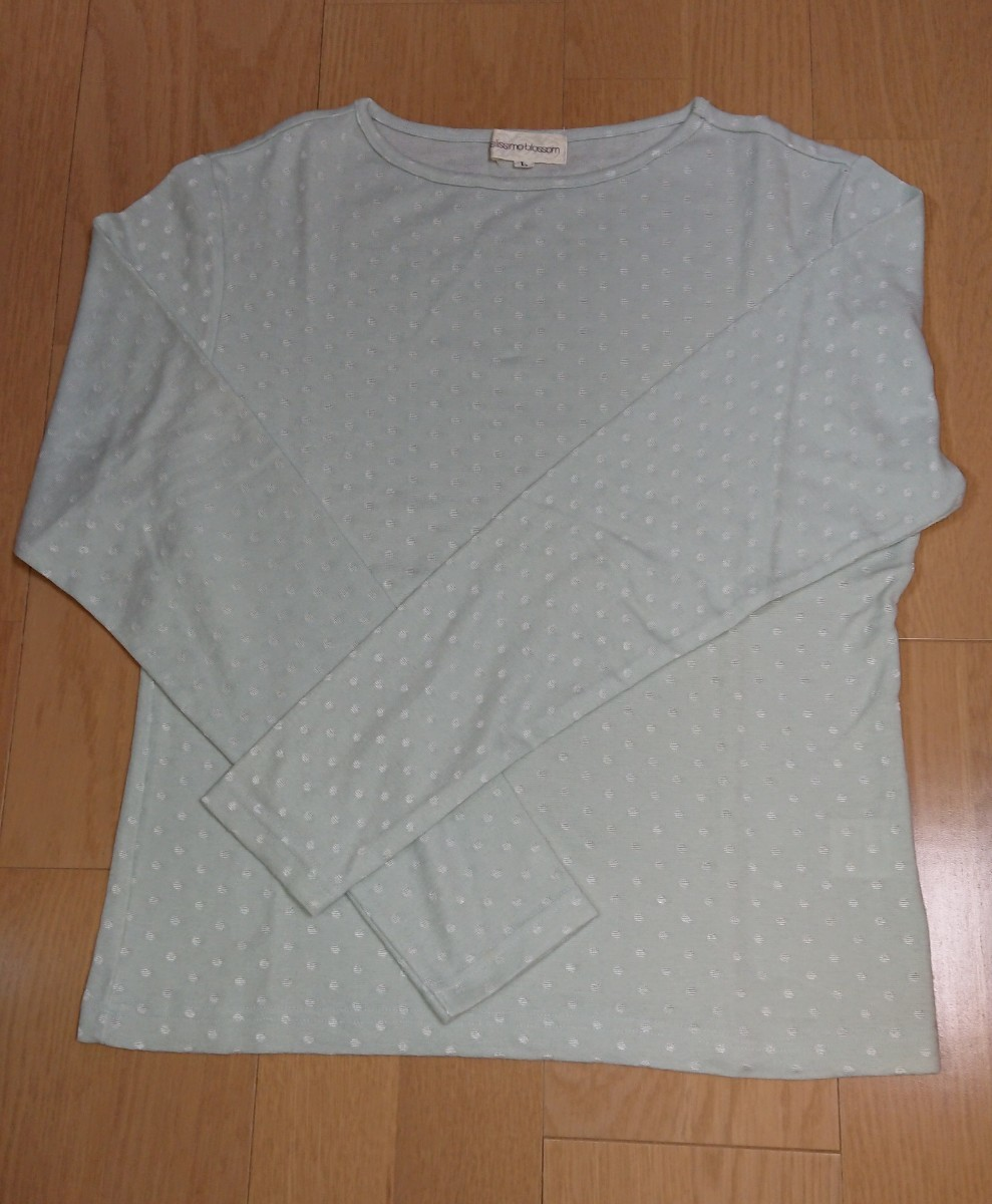 トップス 長袖 ドット柄 薄地カットソー (薄いミント色×シルバー)日本製