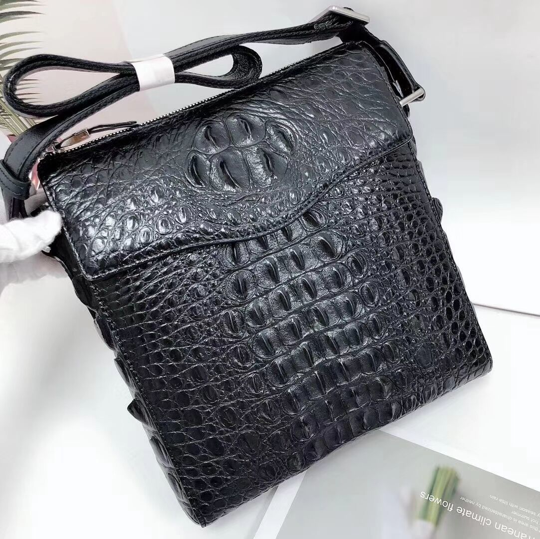 EC00511 最高級ワニ革 クロコダイル 背革使用 天然ワニ革 黒 ブラック ビジネスバッグ 通勤 縦型 メンズバッグ ブリーフバッグ