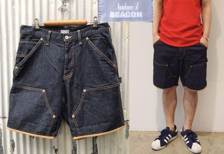 kolor BEACON カラービーコン ストレッチ デニム パイピング付き ショート パンツ size 1 日本製 15SBM-P01135 ハーフ