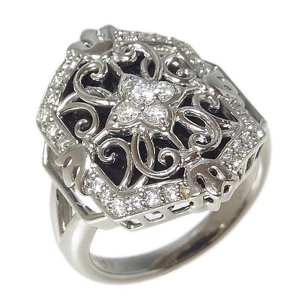 Pt900ファッションリング オニキスダイヤ指輪 D:0.43ct/10.4g/11号_画像2