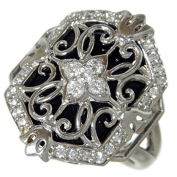 Pt900ファッションリング オニキスダイヤ指輪 D:0.43ct/10.4g/11号_画像1