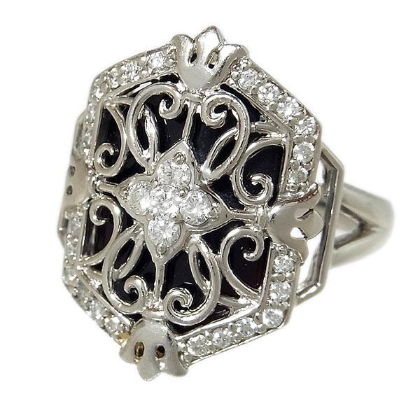 Pt900ファッションリング オニキスダイヤ指輪 D:0.43ct/10.4g/11号_画像3