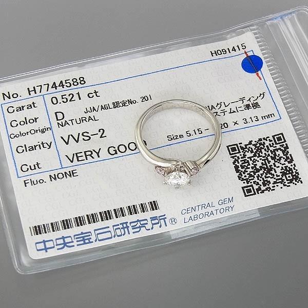 Pt900 ダイヤモンドリング D 0.521ct/D-VVS2-VG/NONE/4.2g/9号 中宝研ソーティング付 /中古_画像6