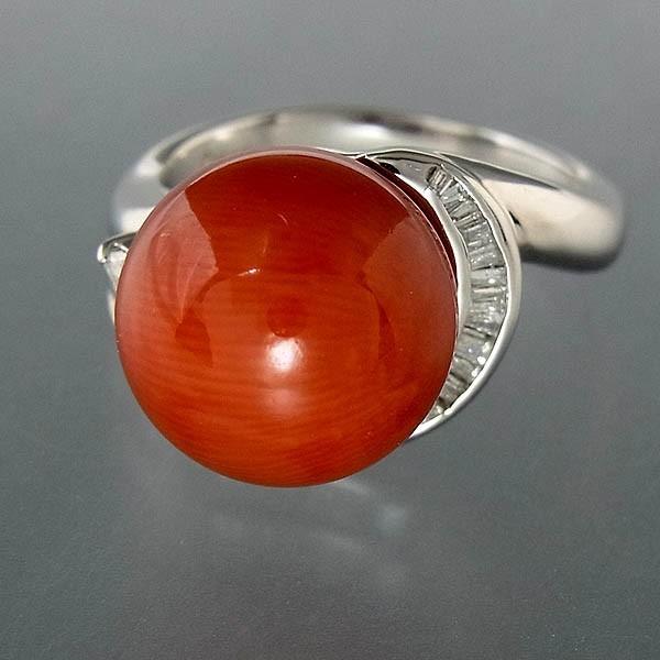Pt900サンゴ(珊瑚)指輪 プラチナ サンゴリング 12mm/D 0.35ct 9.0g/11号中古 送料無料_画像3
