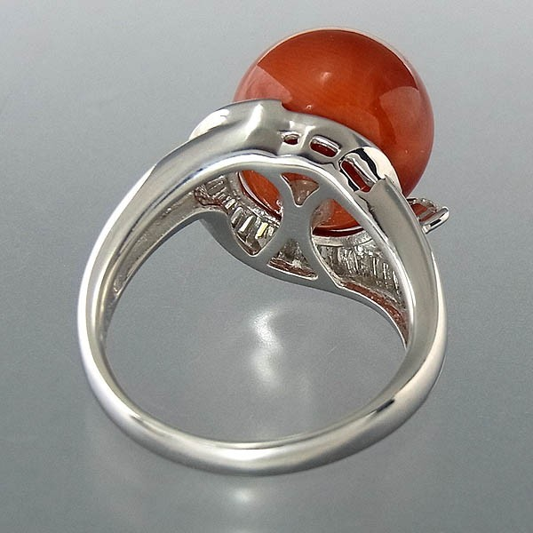 Pt900サンゴ(珊瑚)指輪 プラチナ サンゴリング 12mm/D 0.35ct 9.0g/11号中古 送料無料_画像5