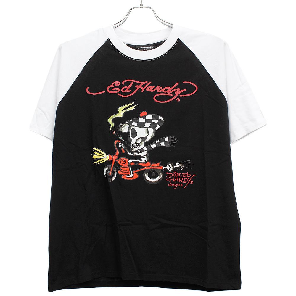 【新品】 3L ブラック エドハーディー Ed Hardy 半袖 Tシャツ メンズ 大きいサイズ デザイン プリント ラグラン クルーネック カットソー_画像3