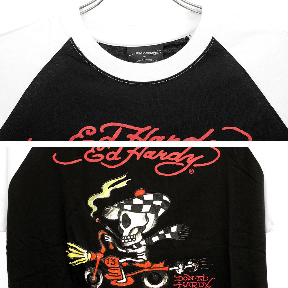 【新品】 3L ブラック エドハーディー Ed Hardy 半袖 Tシャツ メンズ 大きいサイズ デザイン プリント ラグラン クルーネック カットソー_画像5