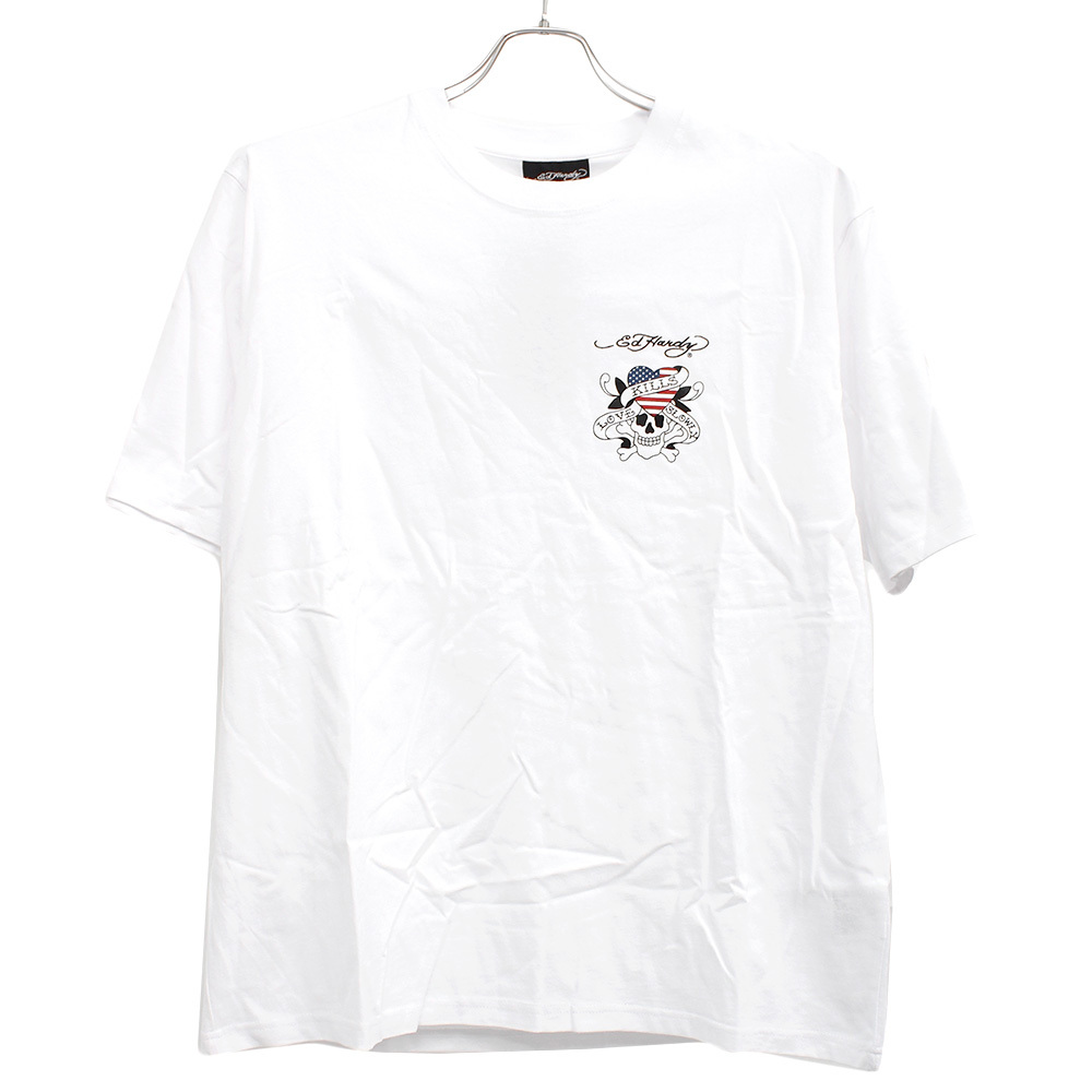 【新品】 6L ホワイト エドハーディー Ed Hardy Tシャツ メンズ 大きいサイズ 半袖 ロゴ デザイン バック プリント クルーネック カットソ_画像4